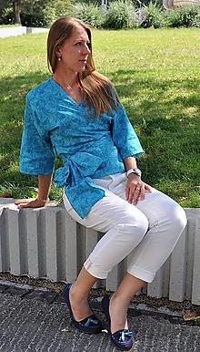 Košele - Zavinovacia košeľa (Tyrkysová) - 10630381_