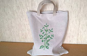 Nákupné tašky - Nákupná taška s bylinkovou výšivkou - (21.1. - 19.2) - 10630303_