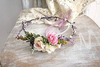 Ozdoby do vlasov - Kvetinový venček ,,ružový,, - 10631174_