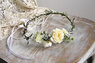 Ozdoby do vlasov - Kvetinový venček ,,ivory,, - 10631194_