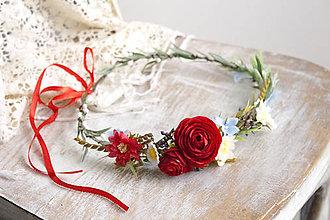 Ozdoby do vlasov - Kvetinový venček ,,folk,, - 10631201_