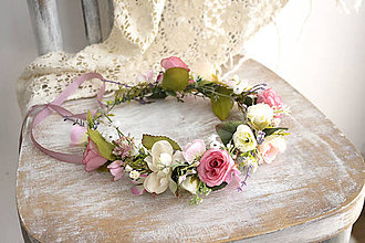Ozdoby do vlasov - Kvetinový venček ,,ružový,, - 10631268_