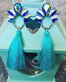 Náušnice - Strapcové náušnice - Turquoise tassels - 10628940_