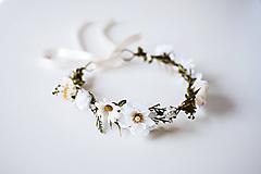 Ozdoby do vlasov - Bielý letný kvetinový venček - 10632296_