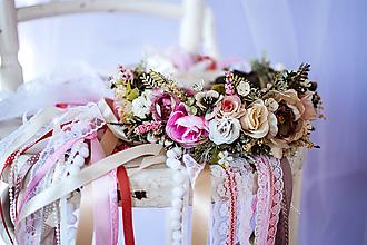 Ozdoby do vlasov - Romantický ružový venček s čipkami - 10632270_