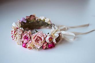 Ozdoby do vlasov - Nežný ružový kvetinový venček - 10632328_