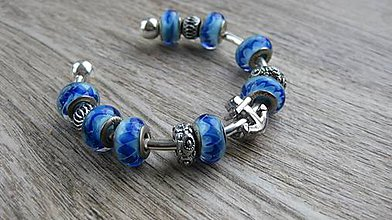 Náramky - Náramok cuff (s kotvou modrý, č. 2610) - 10630343_