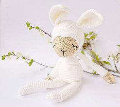 Hračky - Snehobiely zajko - spinkáčik - 10630696_