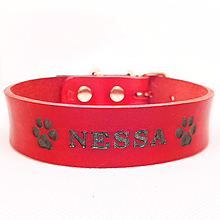 Pre zvieratká - Červený obojok s čiernymi metalickými labkami a menom - 10630002_