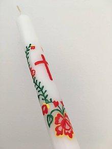 Svietidlá a sviečky - Krstná maľovaná ľudovoladená svieca 2 - 10631952_