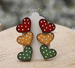 Náušnice - Heart dots mini // Trio - 10628952_