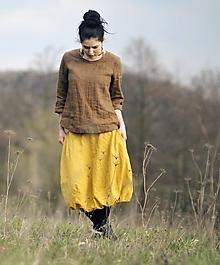 Sukne - Lněná žlutá - 10631624_