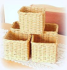 Košíky - kocka na vreckovky (kocka imitácia prútia) - 10629583_