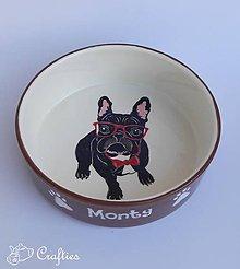 Pre zvieratká - Miska pre psa s menom - Francúzsky buldoček s okuliarmi - 10631978_