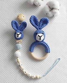 Detské doplnky - Set šnúrka a hrkálka Modrý zajko - 10633598_