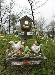 Dekorácie - Jarná dekorácia s kohútikom a so sliepočkou - 10632471_