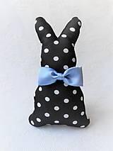 Dekorácie - Bunny Elegant (black/white dots/blue bow tie) - 10632486_