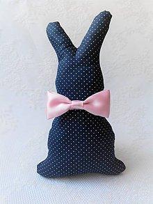 Dekorácie - Bunny Elegant (dark blue/pink bow tie) - 10632480_