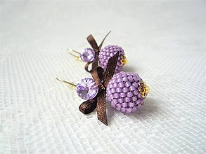 Náušnice - Golden violets (24k Gold plated earrings / Swarovski crystal) - 10632597_