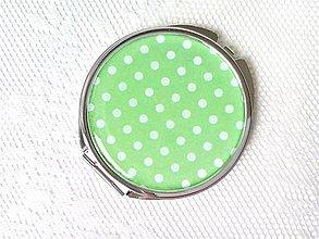 Zrkadielka - Retro mirror (green/white polka dots) - 10632737_