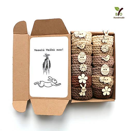 Dekorácie - Mini košíčky na vajíčka (100% biobavlna), 6 ks - 10632515_