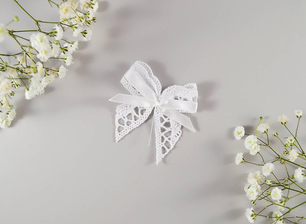 Bavlnené svadobné pierka s mašličkou
