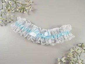 Bielizeň/Plavky - Podväzok modrý s mašličkou - 10635633_