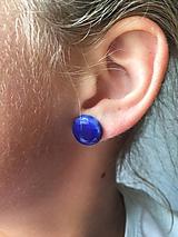 Náušnice - modré gombičky/keramika/ - 10632374_