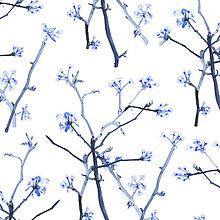 Úžitkový textil - Závesy z ľahšej bavlny - 1 pár  (FLORAL Halúzky I.) - 10633408_