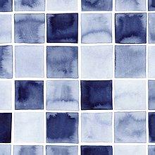 Úžitkový textil - Závesy z ľahšej bavlny - 1 pár  (INDIGO Štvorce) - 10633486_