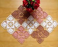 Úžitkový textil - Trojfarebná háčkovaná dečka - 10635316_