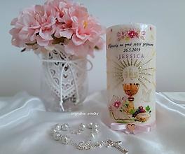 Svietidlá a sviečky - Sviečka na pamiatku, prvé sväté prijímanie (Ružová) - 10634308_