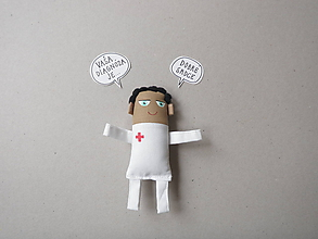 Magnetky - Pán Doktor - textilná magnetka - 10634900_