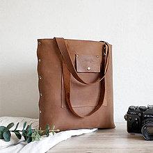 Kabelky - Kožená kabelka Sue (big bag Light brown) - 10633282_