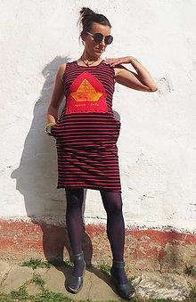 Šaty - Šaty pružkované červeno-čierne. Papierová loďka - 10633989_