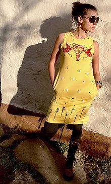Šaty - Šaty žlté Vtáčiky s bodkami - 10634806_