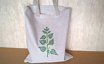 Nákupné tašky - Ľanová nákupná taška s výšivkou - (23.11-21.12.) - 10634467_