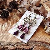 Náušnice - Ružičky polymér - náušnice, tmavo ružová, fialová, čierna, slzičky, bronz - 10633470_