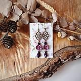 Náušnice - Ružičky polymér - náušnice, tmavo ružová, fialová, čierna, slzičky, bronz - 10633471_