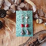 Náušnice - Elegantné trblietavé náušnice, srdcia, červená, sivá, antické, striebro - 10633526_
