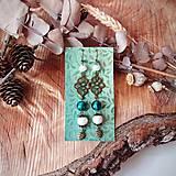Náušnice - Antické náušnice s ornamentami, perleť, lístky, tmavo zelená, tyrkys, brondz - 10633589_