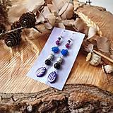 Náušnice - Pestré náušnice, modré ruže, minerál, fialové lístky, striebro - 10633695_
