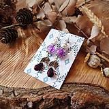 Náušnice - Elegantné trblietavé náušnice, fialová, kvapky, lístky, sklo, striebro - 10633719_