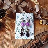 Náušnice - Elegantné trblietavé náušnice, fialová, kvapky, lístky, sklo, striebro - 10633720_