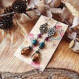 Náušnice - Antické náušnice s ornamentami, kvapky, hnedá, bordová, tyrkys, brondz - 10633789_