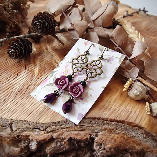 Ružičky polymér - náušnice, tmavo ružová, fialová, čierna, slzičky, bronz