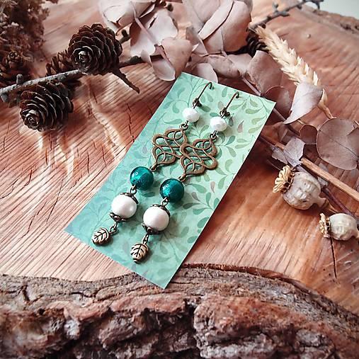 Antické náušnice s ornamentami, perleť, lístky, tmavo zelená, tyrkys, brondz