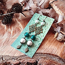 Náušnice - Antické náušnice s ornamentami, perleť, lístky, tmavo zelená, tyrkys, brondz - 10633588_