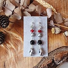 Náušnice - Antické trblietavé náušnice, onyx minerál, červená, čierna, sivá, kvapky, striebro - 10633810_