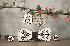 Sady šperkov - Motýlik Čičmanec + manžetové gombíky + náušnice - 10633007_